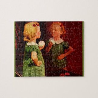 1930s little girl looking in the mirror jigsaw puzzle