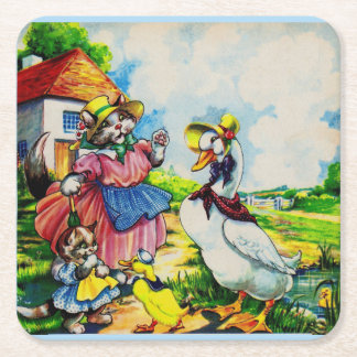 1930s mama kitty cat and baby kitty visit ducks square paper coaster