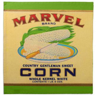 1930s Marvel canned corn label Napkin