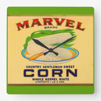 1930s Marvel canned corn label Square Wall Clock