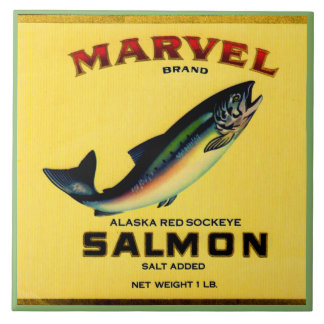 1930s Marvel salmon can label Tile