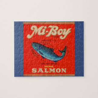 1930s Mi-Boy pink salmon can label Jigsaw Puzzle