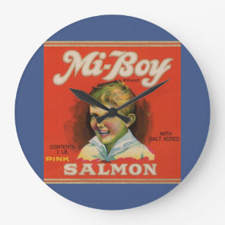 1930s Mi-Boy pink salmon can label Large Clock