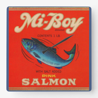 1930s Mi-Boy pink salmon can label Square Wall Clock