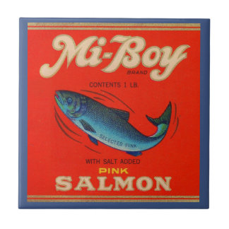 1930s Mi-Boy pink salmon can label Tile