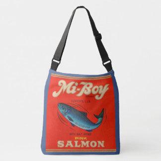 1930s Mi-Boy pink salmon can labels Crossbody Bag
