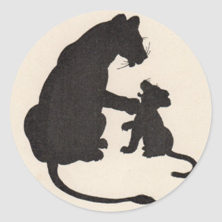 1930s mother lion and cub silhouettes classic round sticker