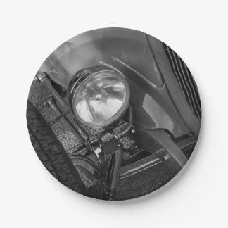 1930's Roadster Grayscale Paper Plate