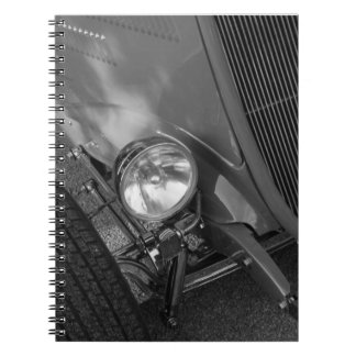 1930's Roadster Grayscale Spiral Note Books
