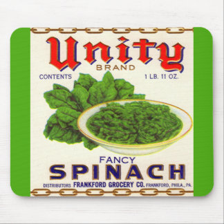 1930s Unity fancy spinach can label Mouse Pad