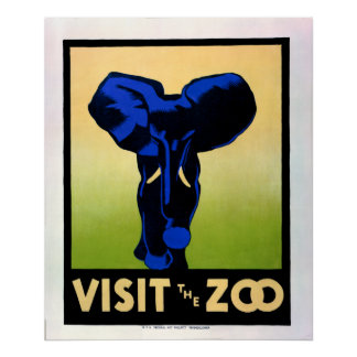 1930's Visit The Zoo WPA Poster