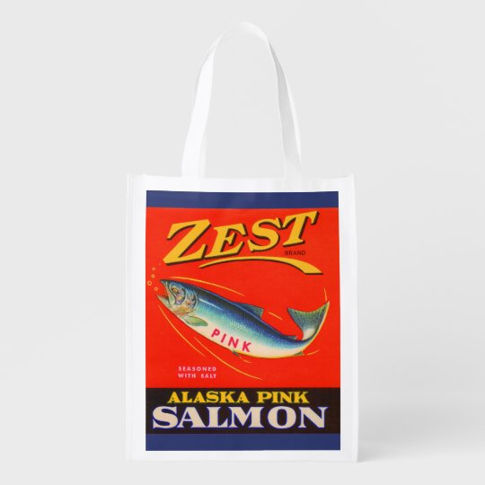 1930s Zest pink salmon can label Market Tote