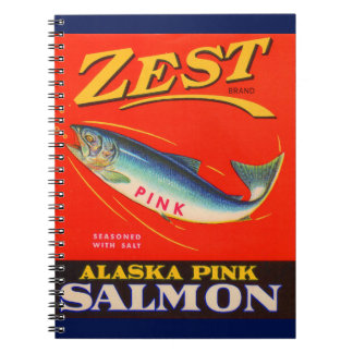 1930s Zest pink salmon can label print Notebook