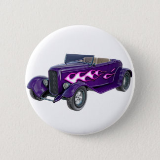 1932 Purple Roadster with Flame 2 Inch Round Button