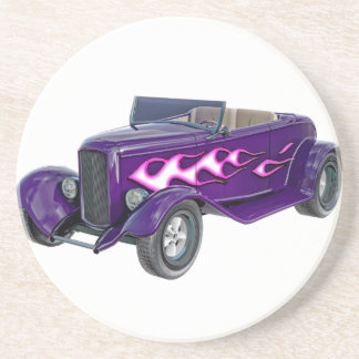 1932 Purple Roadster with Flame Drink Coaster