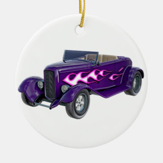 1932 Purple Roadster with Flame Round Ceramic Ornament