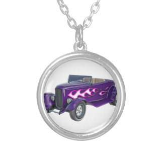 1932 Purple Roadster with Flame Silver Plated Necklace