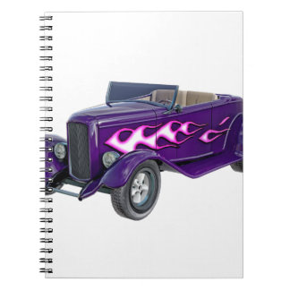 1932 Purple Roadster with Flame Spiral Notebooks