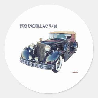 1933 CADILLAC V/16 #2 ROUND STICKER