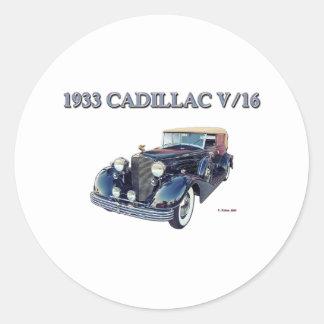 1933 CADILLAC V/16 ROUND STICKER