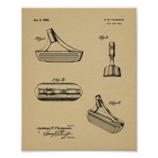 1934 Putter Golf Club Patent Art Drawing Print