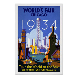 1934 World's Fair Chicago Vintage Poster Print