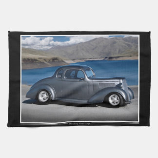 1935 Chevy Master Coupe Hot Rod Scenic Lake Kitchen Towel