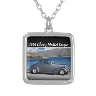 1935 Chevy Master Coupe Hot Rod Scenic Lake Silver Plated Necklace