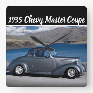 1935 Chevy Master Coupe Hot Rod Scenic Lake Square Wall Clock