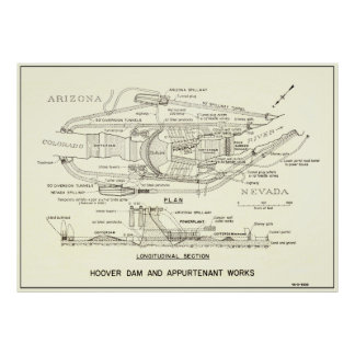 1935 HOOVER DAM PLAN & SECTION POSTER