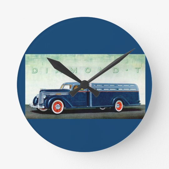 1937 Diamond T blue truck Clock