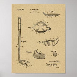 1937 Golf Club Patent Art Drawing Print
