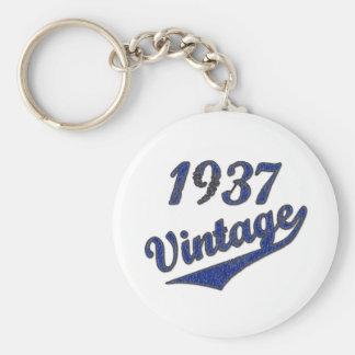 1937 Vintage Basic Round Button Keychain