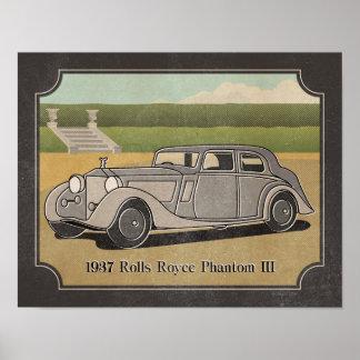 1937 Vintage Silver Gray Car Poster