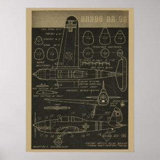 1938 Aviation Airplane Arado AR 96 Art Print