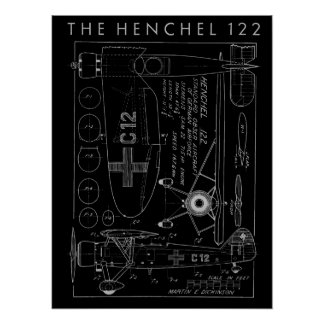 1938 Aviation Airplane Henchel 122 Art Print