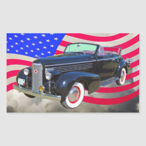 1938 Cadillac Lasalle And American Flag Rectangle Sticker
