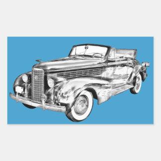 1938 Cadillac Lasalle Illustration Rectangle Stickers
