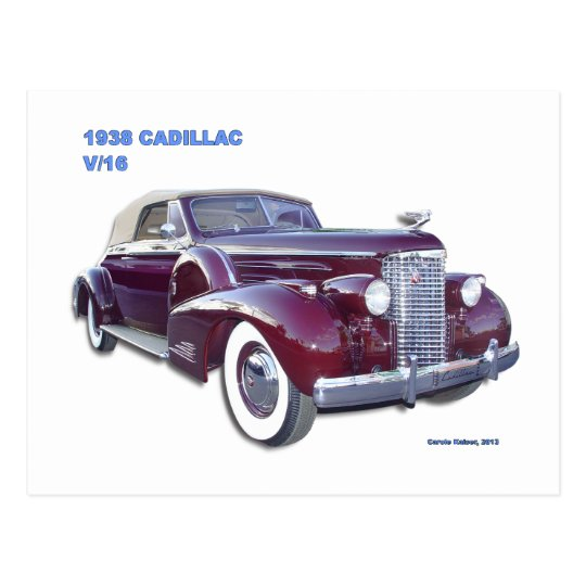 1938 CADILLAC V-16 POSTCARD