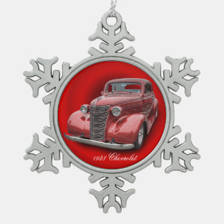1938 CHEVROLET SNOWFLAKE PEWTER CHRISTMAS ORNAMENT