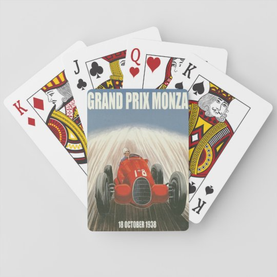 1938 Grand Prix Monza Italy Poster Playing Cards