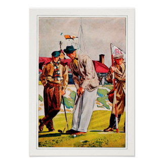 1938 Vintage Golf Fashion - Watercolor Print