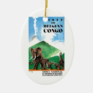 1939 Belgian Congo Elephants Travel Poster Ceramic Ornament