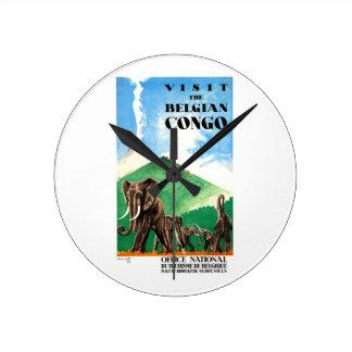 1939 Belgian Congo Elephants Travel Poster Clocks
