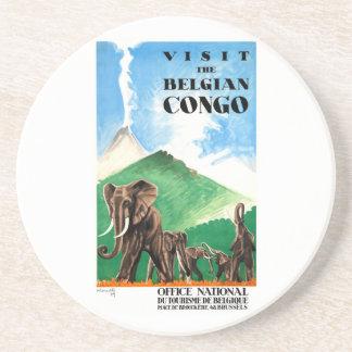 1939 Belgian Congo Elephants Travel Poster Coaster