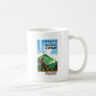 1939 Belgian Congo Elephants Travel Poster Coffee Mug