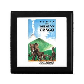 1939 Belgian Congo Elephants Travel Poster Gift Box