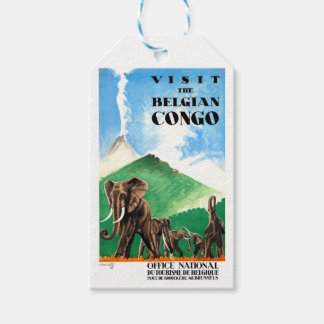 1939 Belgian Congo Elephants Travel Poster Gift Tags