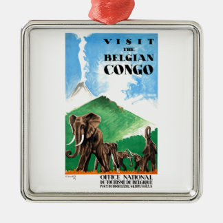1939 Belgian Congo Elephants Travel Poster Metal Ornament