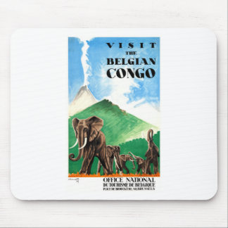 1939 Belgian Congo Elephants Travel Poster Mouse Pad